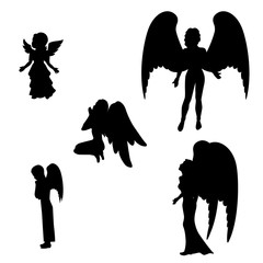 Isolated silhouette of a black angel