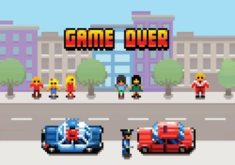 Game Over - car stopped by the police pixel art video game style layer illustration