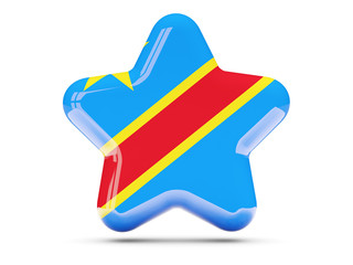 Star icon with flag of democratic republic of the congo