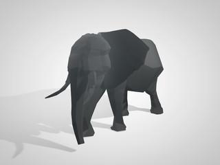 3D illustration of origami elephant. Polygonal elephant. Walking geometric style elephant side view.