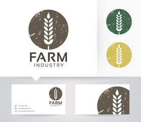 Farm Industry vector logo with alternative colors and business card template