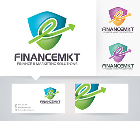 Finance & Marketing vector logo with alternative colors and business card template