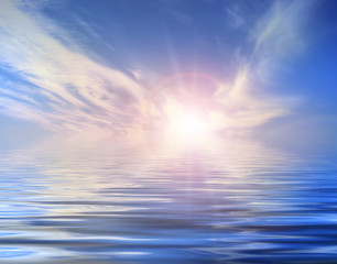 Background with sun and water