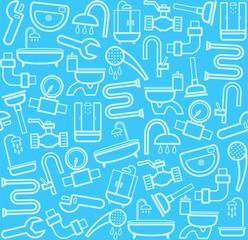 Plumber, background, seamless, sanitary tool, blue.