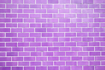 Purple new brick wall perfectly background. Best clean brick wall. Sweet and cute pastel color. Close up. Front view.