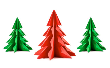 Set of origami Christmas tree paper isolated on white background. For decoration, Merry Christmas postcard vintage with red and green paper. Happy New Year. Front view. Close up.