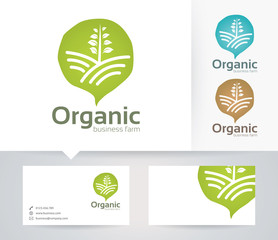 Organic Farm vector logo with alternative colors and business card template