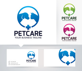 Pet Care vector logo with alternative colors and business card template
