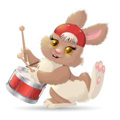 Cartoon rabbit musician. Vector