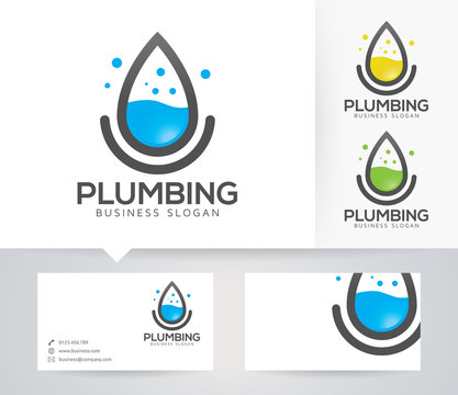 Plumbing vector logo with alternative colors and business card template