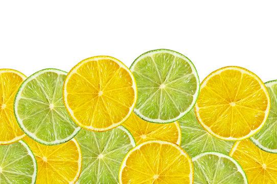 juicy lemon and lime slice isolated on white background