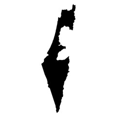 Israel black map on white background vector