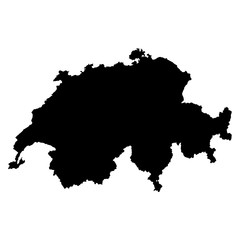 Switzerland black map on white background vector