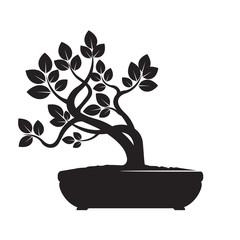 Black Vector Olive Tree. Illustration of Bonsai.