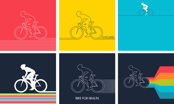 Cyclists on bikes. set isolated d vector illustration.