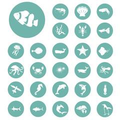 Set of twenty seven sea animals icon