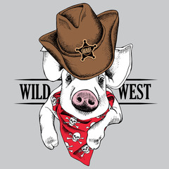 The image of portrait of the pig in a cowboy hat and cravat. Vector illustration.