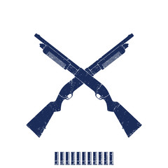 Crossed shotguns, hunting rifles, shotgun shells on white, vector illustration