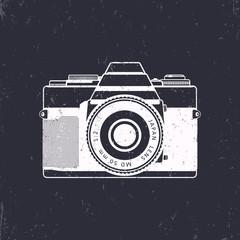Retro camera vector, old analog camera, film photography, vector illustration