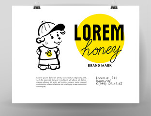 Hand drawn bear icon. Vector flat honey logo.