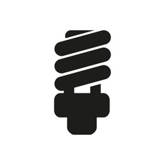 Fluorescent Light Bulb icon in a flat design on a white backgrond