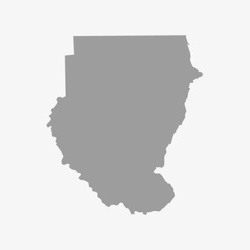 Map of Sudan in gray on a white background