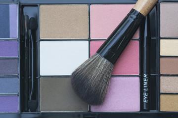 selective focus on professional makeup cheek brush