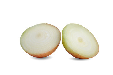 Onions (Allium cepa) on a white background.