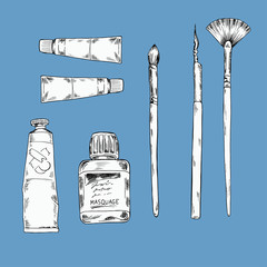Set of art utensils and materials on pastel blue background. Hand drawn vector illustration.