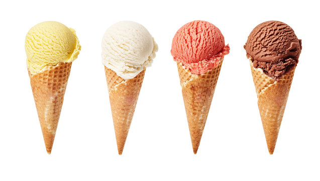 Various ice-cream scoops on white background