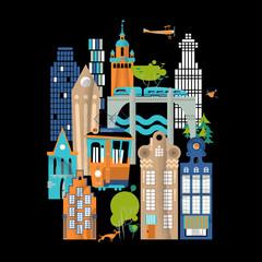 Colorful urban landscape. City life.
