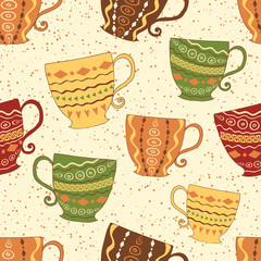Hand drawn seamless pattern with cute colorful cups.