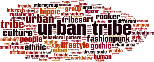 Urban tribe word cloud concept. Vector illustration