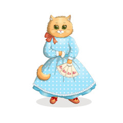 Victorian Romantic red cat with a blue polka dot dress and shoes with a fan on a white background