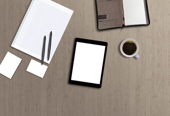 Office desk top view hero image for mock up presentation with tablet. Wooden background