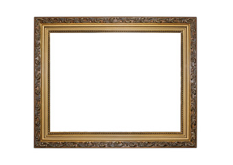 Gold color picture frame.