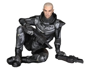 Science fiction illustration of a male future soldier in protective armoured space suit, sitting holding pistols, 3d digitally rendered illustration