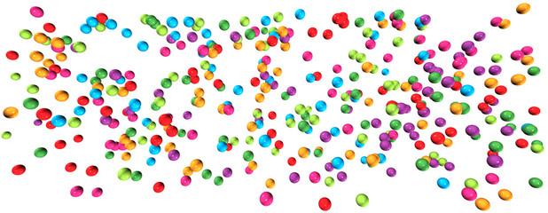 Banner: Farbenfrohe Perlen auf weißem Hintergrund