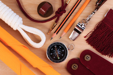 A set of various camping equipment. Boy scout with camping tourist object set.