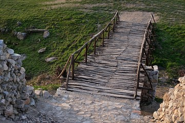 Reconstruction of castle wooden bridge in Oponice, Slovakia.