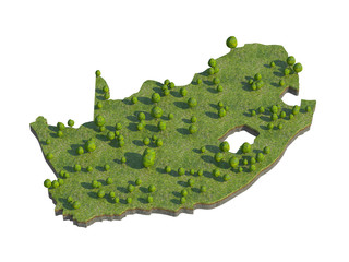 3d render of south africa  map section cut isolated on white wit