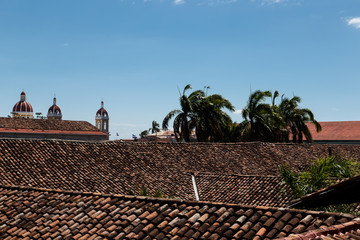 view of granada cathedral with roof of tiles. Nicaragua