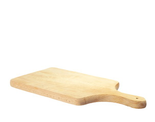 Wooden chopping board isolated on white background