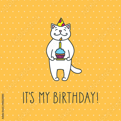 Its My Birthday Cute White Cat With A Cake And A Birthday Hat On