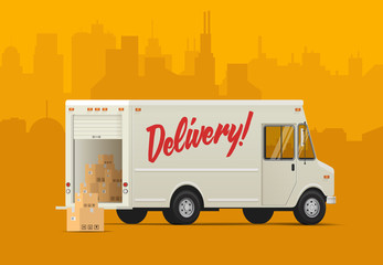 Delivery truck side back. Isometric styled vector illustration.