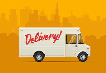 Delivery truck. Flat styled vector illustration.