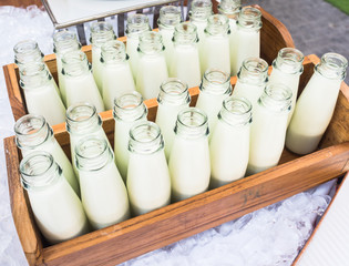 Fresh milk in bottles