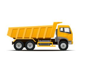Yellow Dumper Truck. High Detailed Vector illustration.