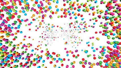 3D-Hintergrund: Rahmen aus bunten Perlen vor weißem Hintergrund