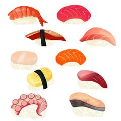 sushi set, vector illustration, isolated on white background